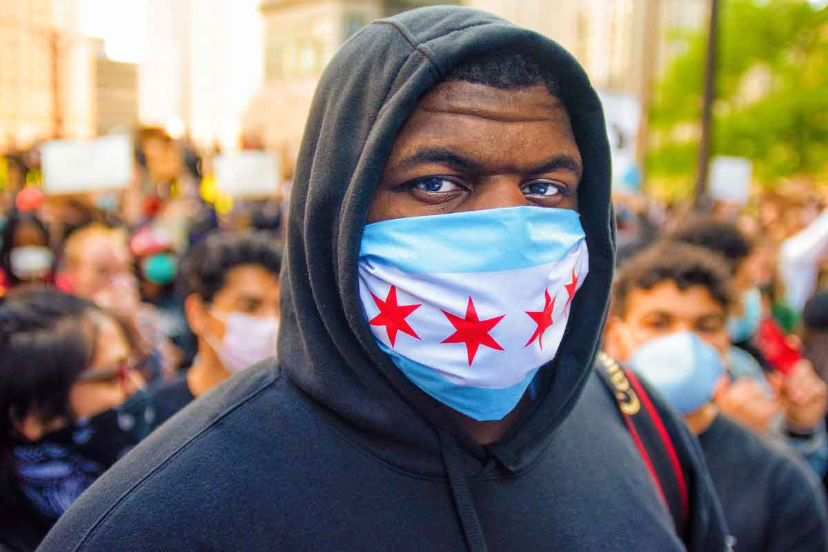 Portrait of Vashon Jordan Jr. during a demonstration on May 30, 2020