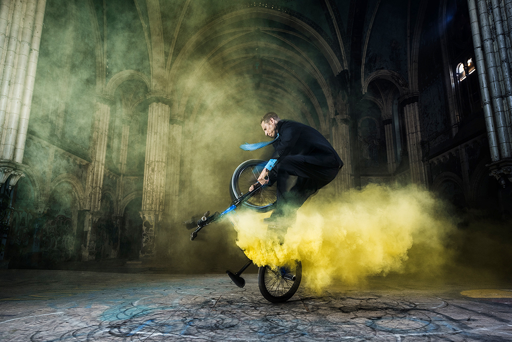 BMX tricks inside abandoned church